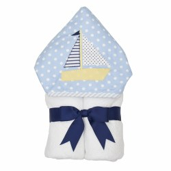 3 Marthas - Hooded Towel - Blue Sailboat