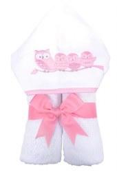 3 Marthas - Hooded Towel - Owls Pink
