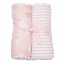 3 Marthas - Burp Pad 2-Pack Set - Pink Bear