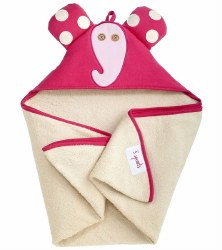 3 Sprouts - Hooded Towel - Elephant Pink