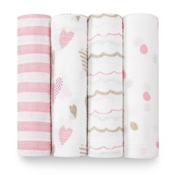 Aden + Anais - Classic Swaddle 4 pack - Heart Breaker