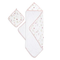 Aden + Anais - Muslin-Backed Hooded Towel Set - Heart Breaker
