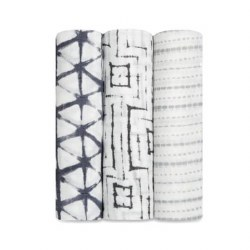 Aden + Anais - Bamboo Swaddle 3 Pack - Pebble Shibori