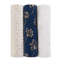 Aden + Anais - Bamboo Swaddle 3 Pack - Metallic Gold Deco