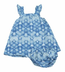 Angel Dear - Sundress & Shortie Set Shibori - Indigo 6-12M