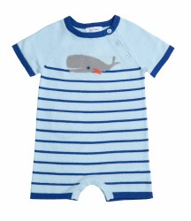 Angel Dear - Knit Romper Nautical - Blue 0-3M