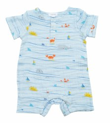 Angel Dear - Short Romper Sea Stripes - Blue 3-6M