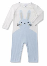 Angel Dear - Knit Coverall Bunny - Blue 0-3