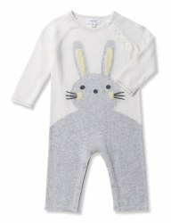 Angel Dear - Knit Coverall Bunny - Grey 0-3