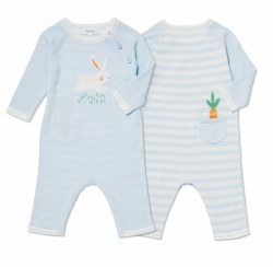 Angel Dear - Knit Striped Coverall Bunny - Blue 0-3