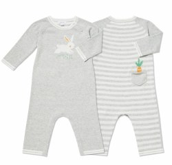 Angel Dear - Knit Striped Coverall Bunny - Grey 0-3
