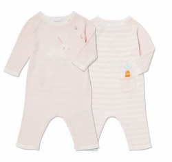 Angel Dear - Knit Striped Coverall Bunny - Pink 0-3