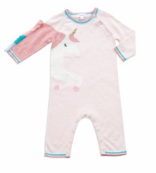 Angel Dear - Knit Coverall Unicorn - Pink 0-3M