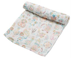 Angel Dear - Bamboo Single Swaddle Blanket - Boho Elephant
