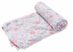 Angel Dear - Bamboo Single Swaddle Blanket - Bun Damask