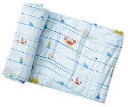 Angel Dear - Bamboo Single Swaddle Blanket - Sea Stripes