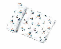 Angel Dear - Bamboo Single Swaddle Blanket - Simple Boats