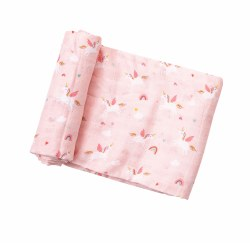 Angel Dear - Bamboo Single Swaddle Blanket - Unicorn Pink
