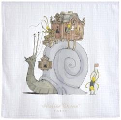 Atelier Choux Paris - Organic Swaddle Blanket - Snail Riding
