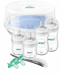 Avent - Natural Baby Bottle Essentials Gift Set with Microwave Sterilizer