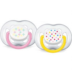 Avent - Free Flow Pacifier 6-18 Pink & Yellow