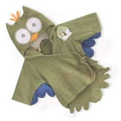 Baby Aspen - Bath Robe - Green Owl