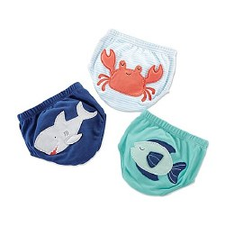 Baby Aspen - Under The Sea 3-Piece Diaper Cover Set - Blue 0-6