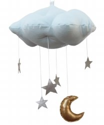 N L - Blue Cloud Mobile with Silver Star and Gold Moon