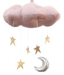 N L - Rose Cloud Mobile with Gold Stars and Silver Moon