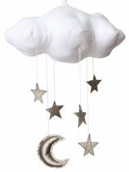 N L - White Cloud Mobile with Silver Stars and Silver Moon