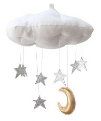 N L - Luxe White Cloud Mobile with Silver Stars and Gold Moon