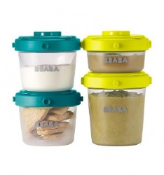 Beaba - Clip Portions Container 2oz/4oz Set of 6 Peacock