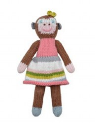 BlaBla - Animal Rattle School Book Monkey Girl