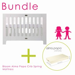 Bloom - Alma Papa Crib & Spring Mattress Bundle - White