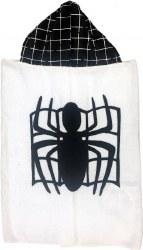 N L - Big Hooded Towel - Spiderman White/Black