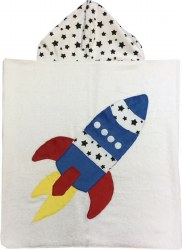 N L - Big Hooded Towel - Blast Off Blue/Red/Stars