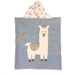 N L - Big Hooded Towel - Lama Mama Blue