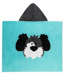N L - Big Hooded Towel - Dog  Aqua