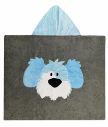 N L - Big Hooded Towel - Dog Light Blue