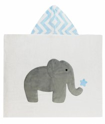 N L - Big Hooded Towel - Elephant and Star Light Blue