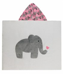 N L - Big Hooded Towel - Elephant and Star Pink