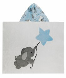 N L - Big Hooded Towel - Flying Elephant Blue