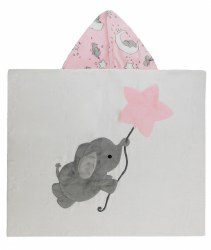 N L - Big Hooded Towel - Flying Elephant Pink