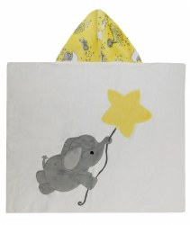 N L - Big Hooded Towel - Flying Elephant Yellow