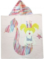 N L - Big Hooded Towel - Mermaid Watercolor Stripes Blonde
