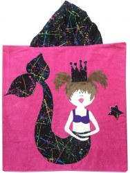 N L - Big Hooded Towel - Mermaid Black Splatter Brunette