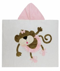 N L - Big Hooded Towel - Monkey Ballerina Light Pink