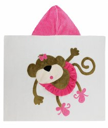 N L - Big Hooded Towel - Monkey Ballerina Hot Pink