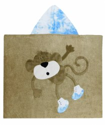 N L - Big Hooded Towel - Hanging Monkey Brown/Light Blue