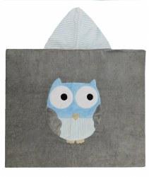 N L - Big Hooded Towel - Owl Grey/Light Blue
